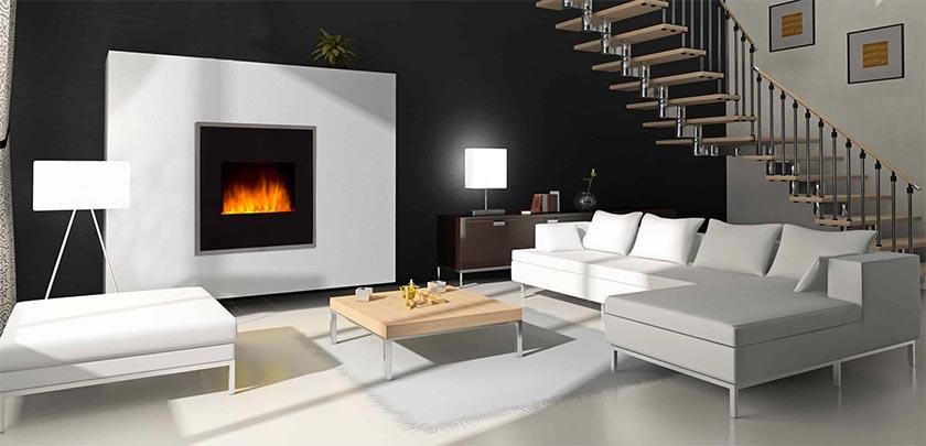 Las chimeneas eléctricas de pared juegan un papel destacado en los espacios
